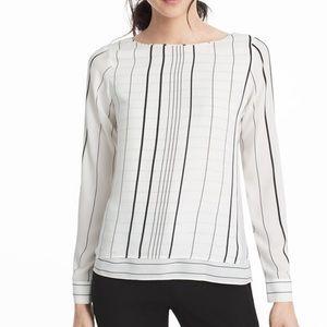 WHBM Joan Stripe Double Layer Blouse